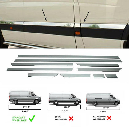 Fits Mercedes Sprinter 2006-2018 Chrome Side Door Trim Streamer Standard (144