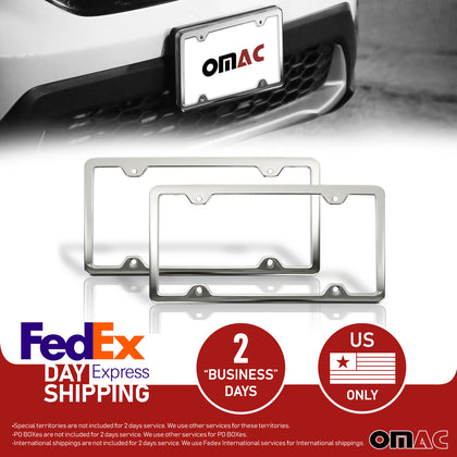 2 Pcs Chrome S. Steel License Plate Frame Tag Holder Fits Audi Q7