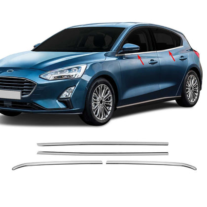 Chrome Window Frame Trim Cover S.Steel 4 Pcs For Ford Focus 2018-2021