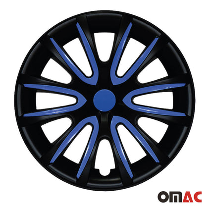 16 Inch Hubcaps Wheel Rim Cover Matt Black & Dark Blue for Chevrolet Impala Set Omac Shop Usa - Auto Accessories