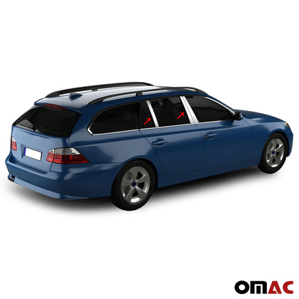 Fits BMW 5 Series E61 2004-2010 Chrome Window Panel B Pillar Trim S.Steel 6 Pcs Omac Shop Usa - Auto Accessories