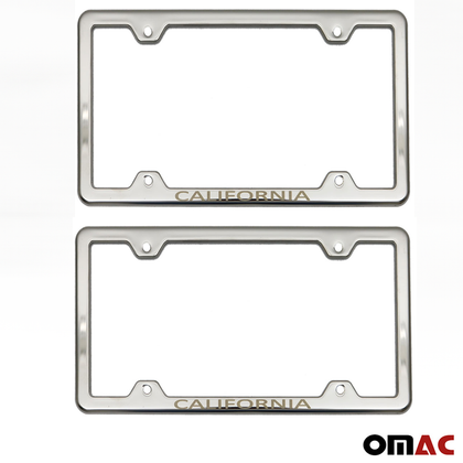 CALIFORNIA Print License Plate Frame Tag Holder Chrome S. Steel For GMC Canyon