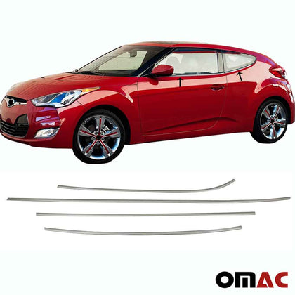 Chrome Window Frame Trim Cover S.Steel 4 Pcs For Hyundai Veloster 2012-2018