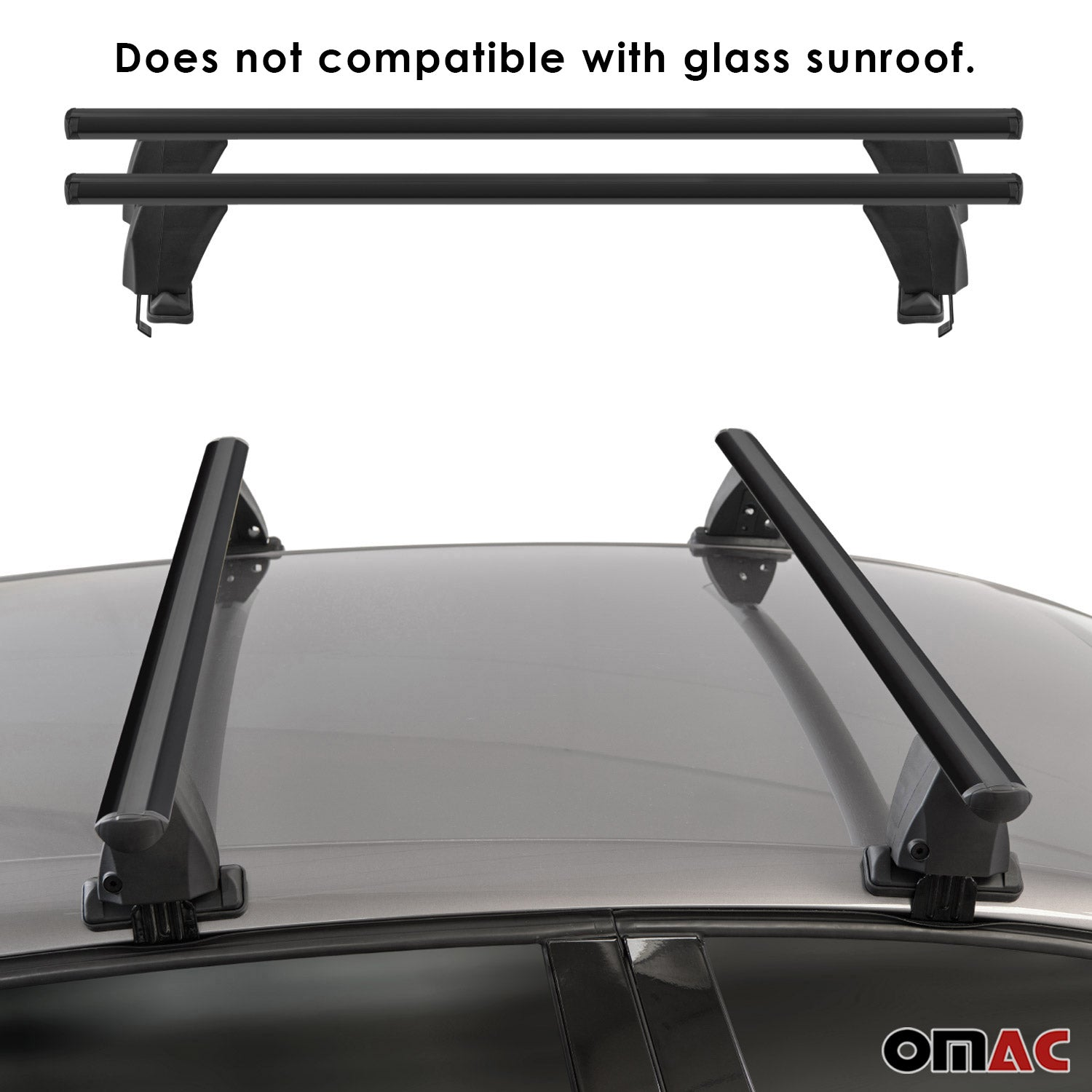 Fits Chevrolet Cruze Sedan 2016-2019 Smooth Roof Rack Carrier Rail Crossbar 2Pcs
