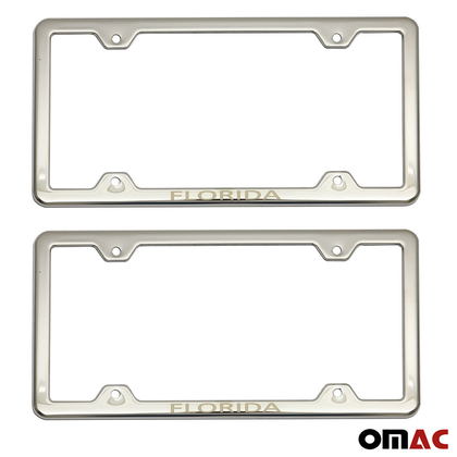 FLORIDA Print License Plate Frame Holder Chrome S. Steel For Nissan Rogue Sport