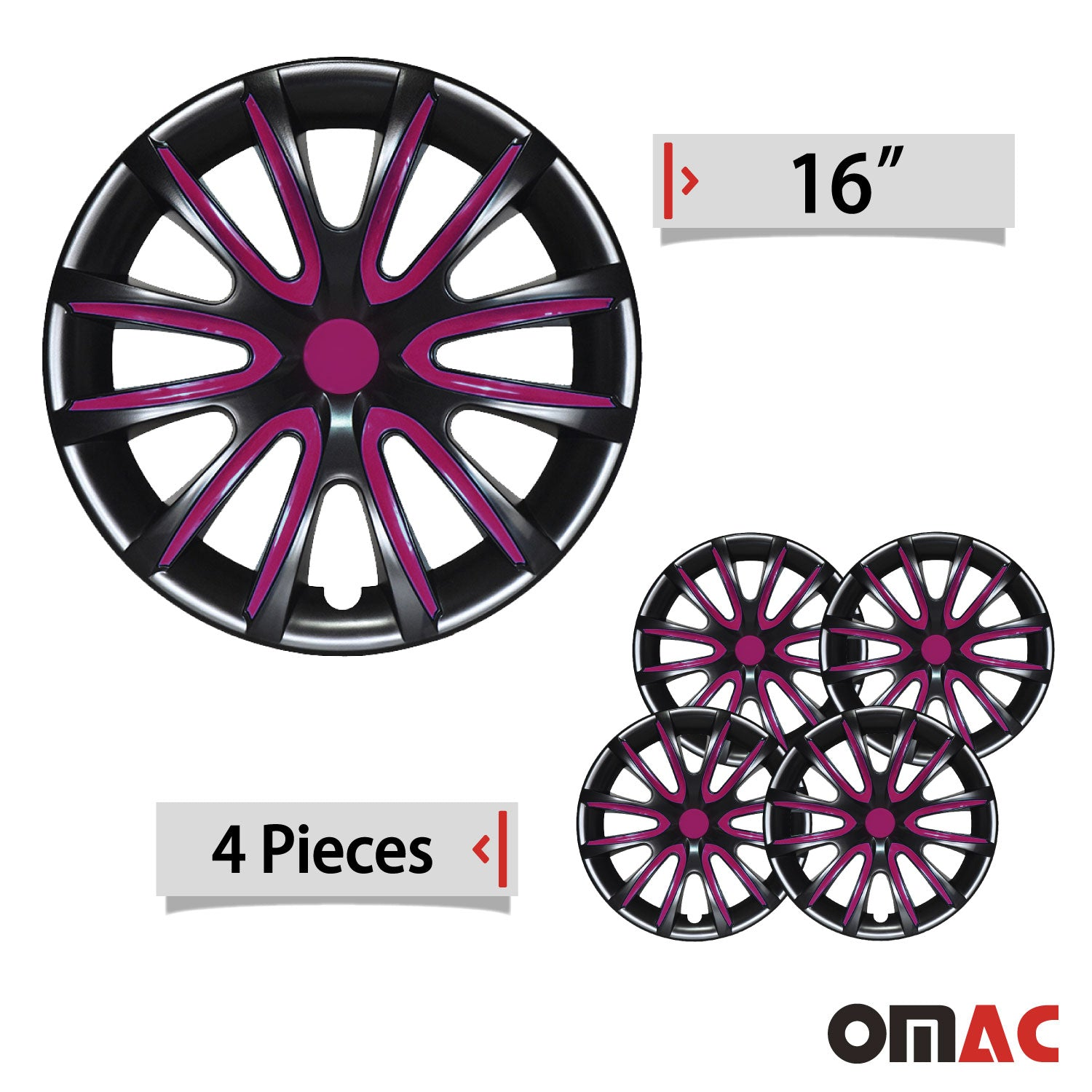 16 Inch Hubcaps Wheel Rim Cover Glossy Black with Violet for Kia Optima 4pcs Set