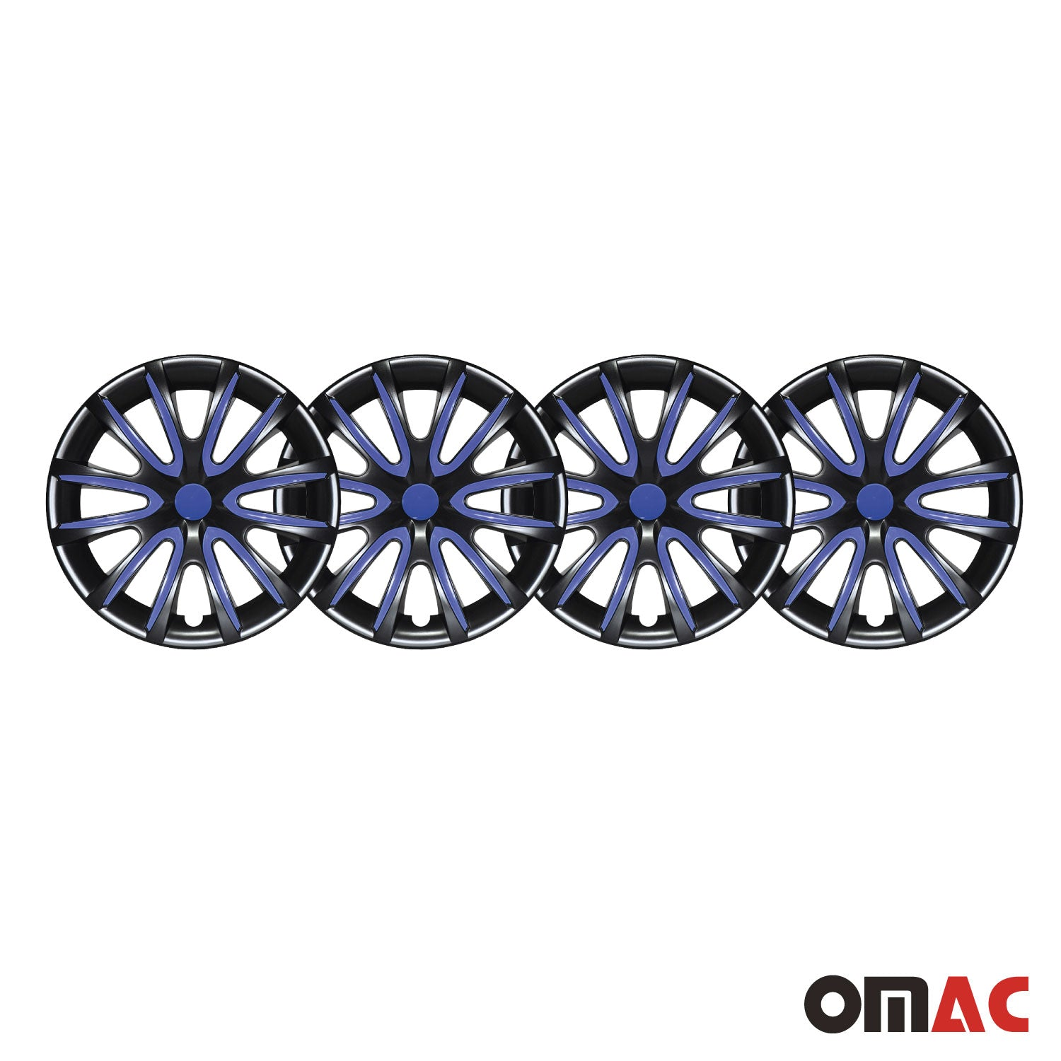 "15""Inch Hubcaps Wheel Cover For Mercedes Glossy Black Dark Blue Insert 4pcs Set"