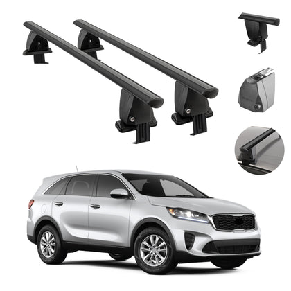 Fits Kia Sorento (UM) 2019-2020 Smooth Roof Rack Crossbar Carrier Rail Alu Black