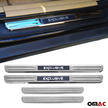 Illuminated Exclusive Door Sill Cover Scuff Plate 4 Pcs Fits MB E Class