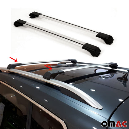 Roof Rack Cross Bars Luggage Carrier Silver for Fiat Doblo 2010-2020