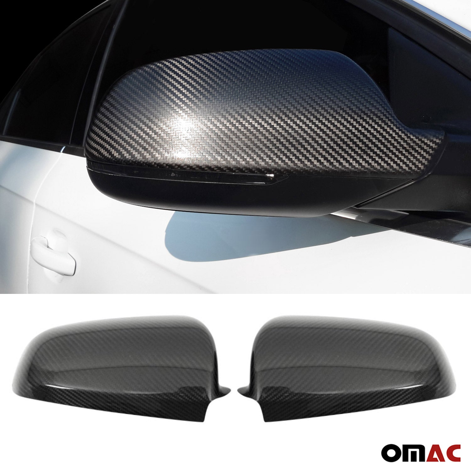 Fits Audi A4 2013-2016 Genuine Carbon Fiber Side Mirror Cover Cap 2 Pcs