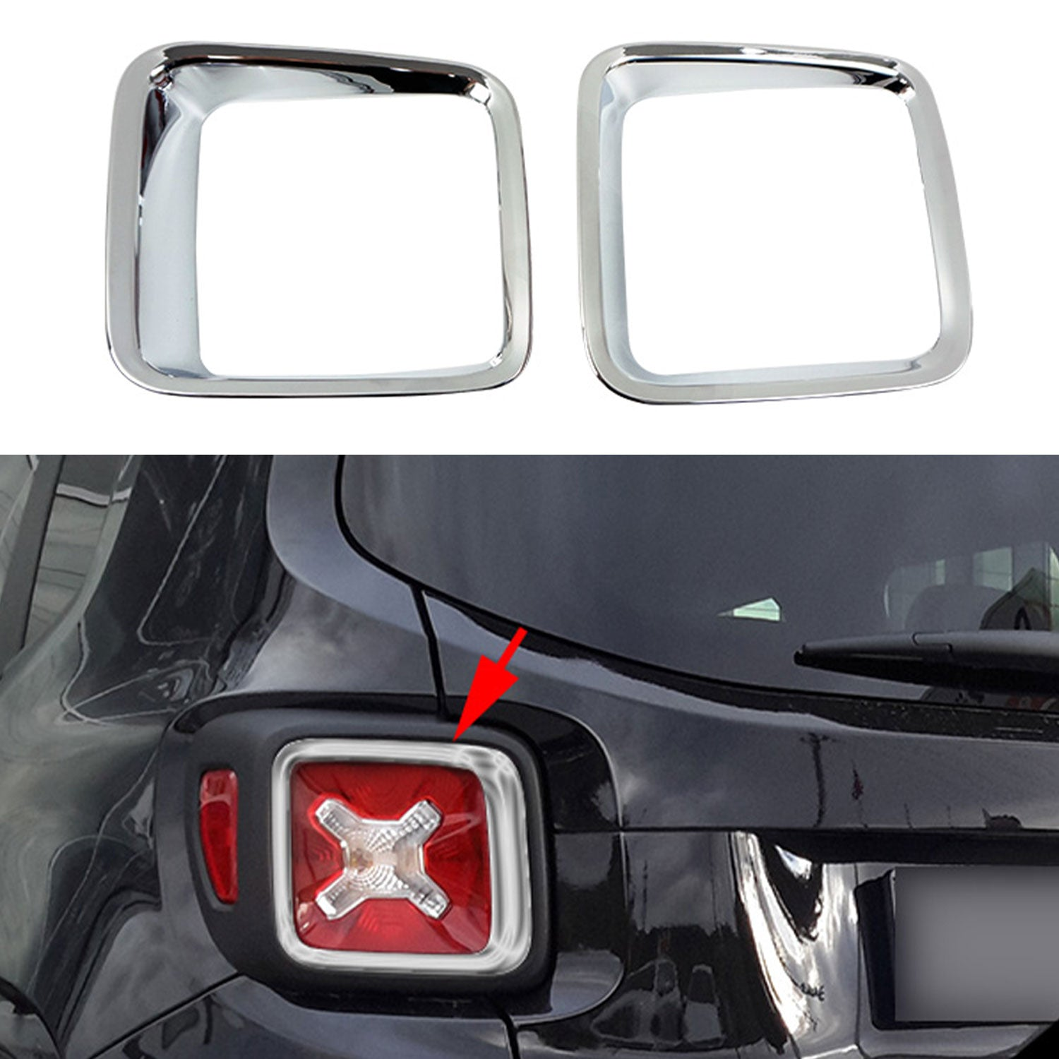 Chrome Brake Stop Light Inner Frame Trim 2 Pcs for Jeep Renegade 2015-2020