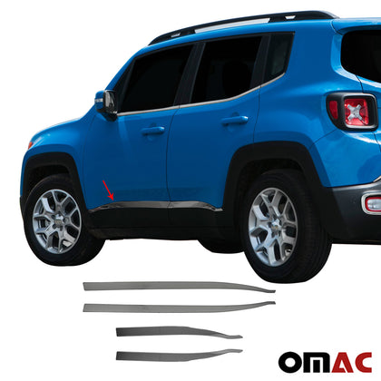 For JEEP Renegade 2018-2020 Dark Chrome Side Door Streamer Trim S.Steel 4 Pcs
