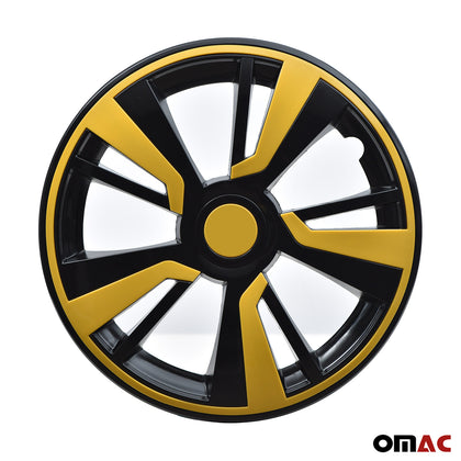 15'' Hubcaps Wheel Rim Cover Black with Yellow Insert 4pcs Set