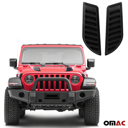 Decorative Air Flow Intake Scoop Bonnet Vent Hood 2 Pcs Black For Jeep Gladiator - Omac Shop Usa - Auto Accessories