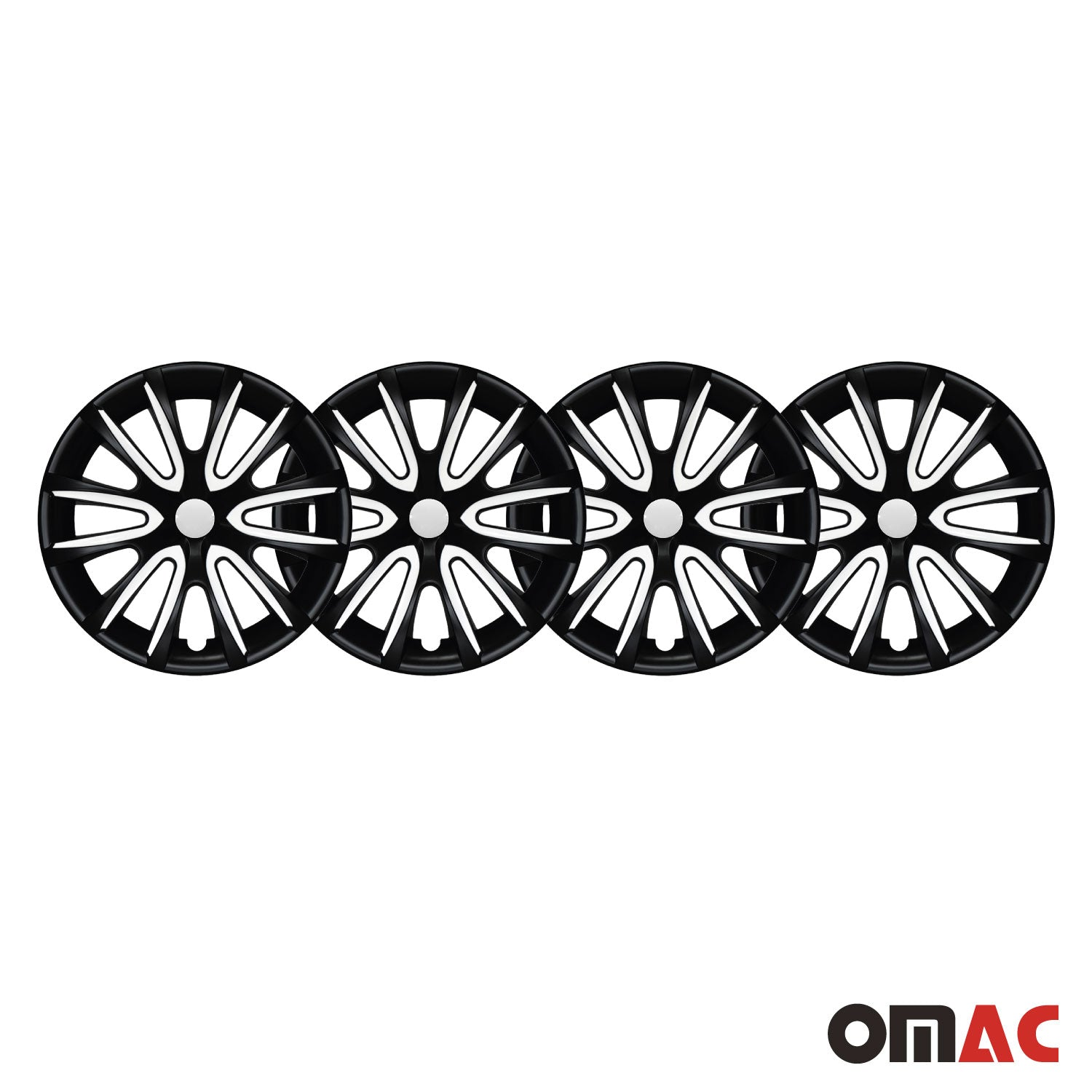 "16"" Inch Hubcaps Wheel Rim Cover Matt Black with White for Jeep Renegade Set"