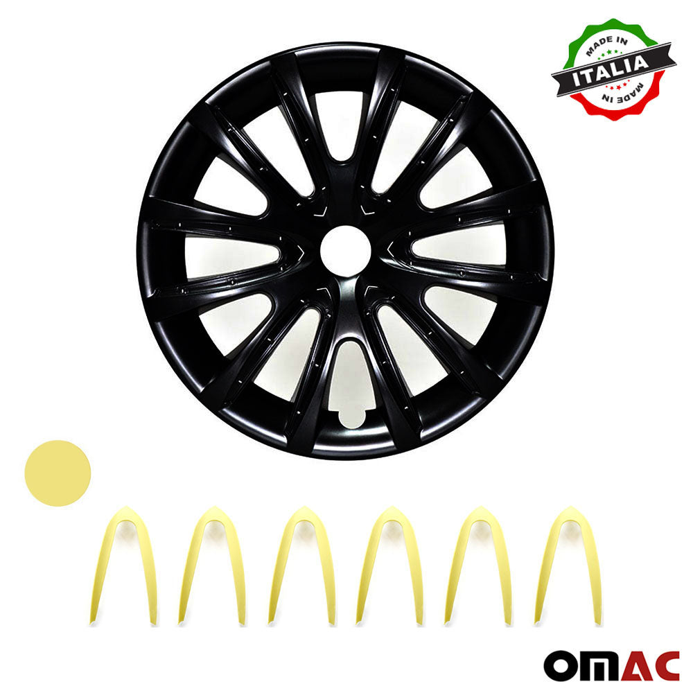 "16"" Inch Hub Cap Wheel Rim Cover Matt Black with Yellow for Honda HR-V Set"