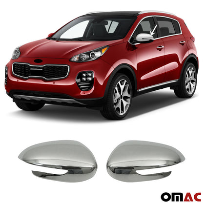 Fits Kia Sportage 2017-2020 Stainless Steel Chrome Side Mirror Cover Cap 2 Pcs Omac Shop Usa - Auto Accessories