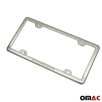 FLORIDA Print License Plate Frame Holder Chrome S. Steel For GMC Canyon Crew Cab