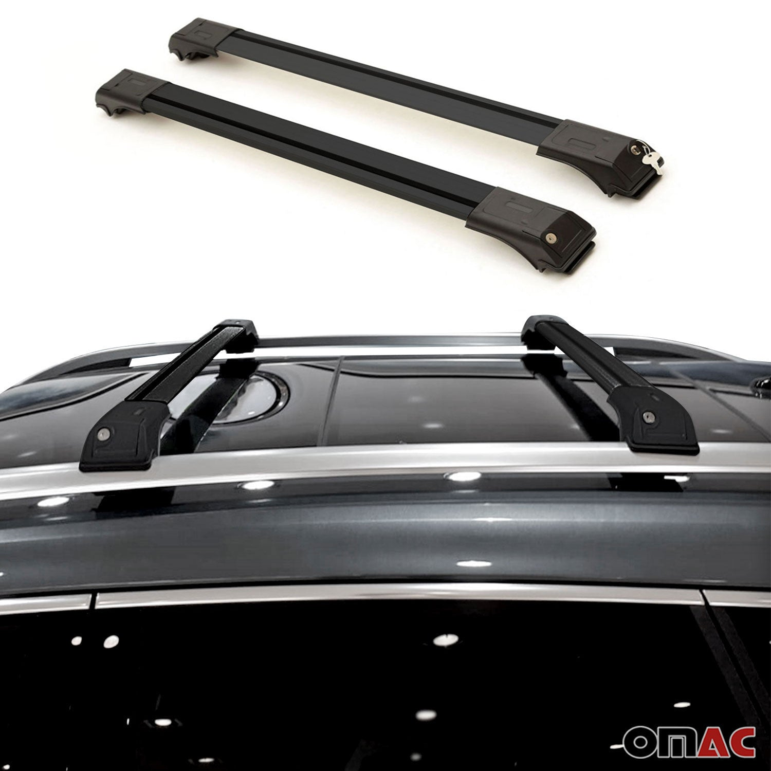 Roof Rack Cross Bars Luggage Carrier Alu Black for Mercedes ML W163 1998-2005
