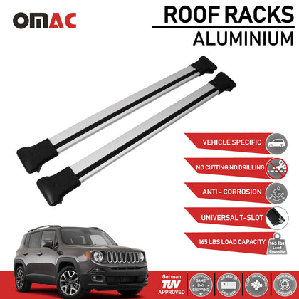 Roof Rack Cross Bars Luggage Carrier Silver for Jeep Renegade 2019-2020 - Omac Shop Usa - Auto Accessories