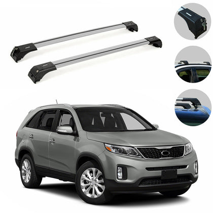 Silver Roof Rack Cross Bars Luggage Carrier Aluminum for Kia Sorento 2014-2015