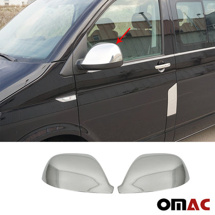 Fits VW Transporter T6 2015-2019 Chrome Side Mirror Cover Cap S. Steel 2 Pcs
