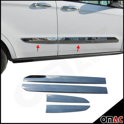 Chrome Side Door Streamer Trim Cover S.Steel 4 Pcs For Ford  Courier  2014-2020
