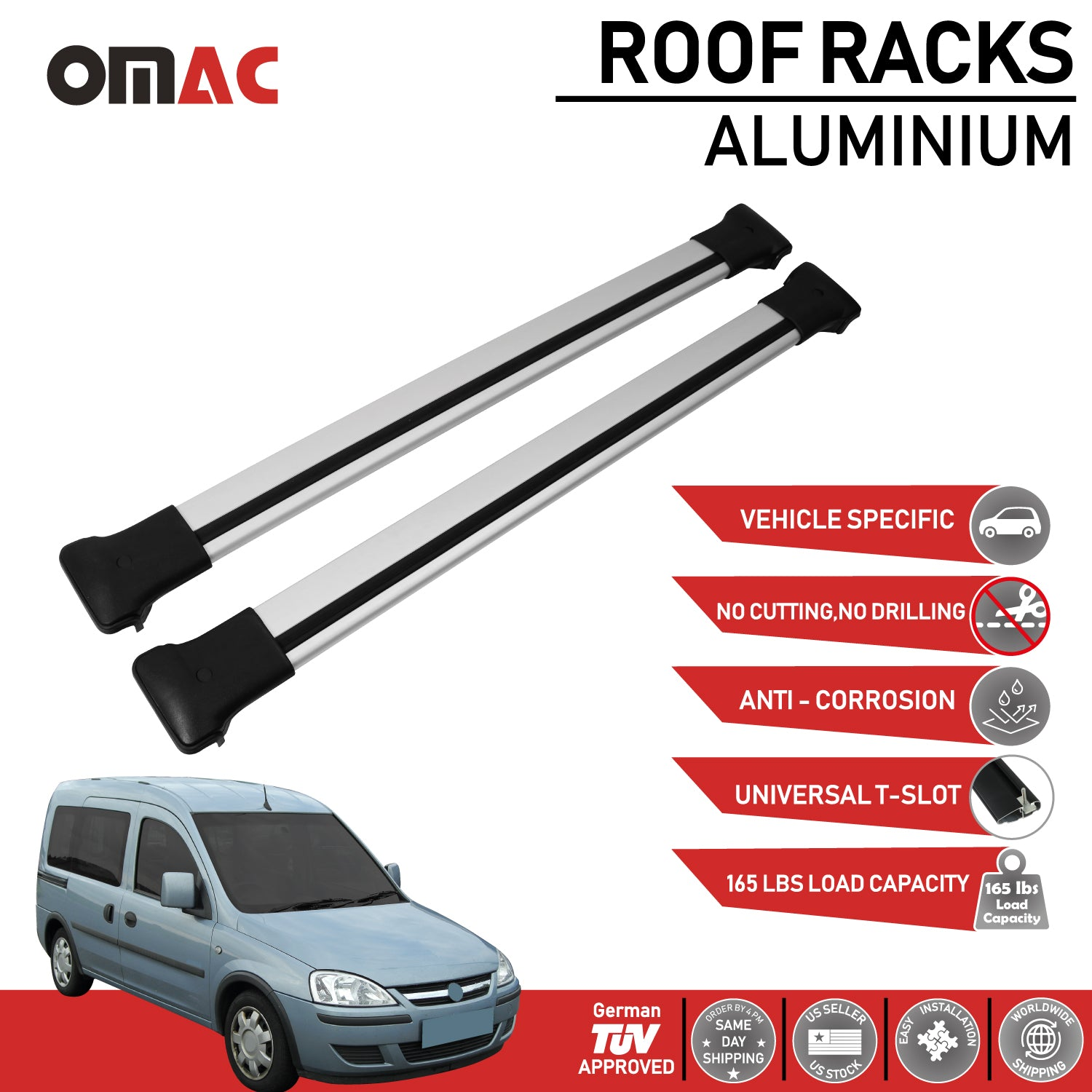 Roof Rack Cross Bars Luggage Carrier Silver Set For Chevrolet Combo 2001-2011
