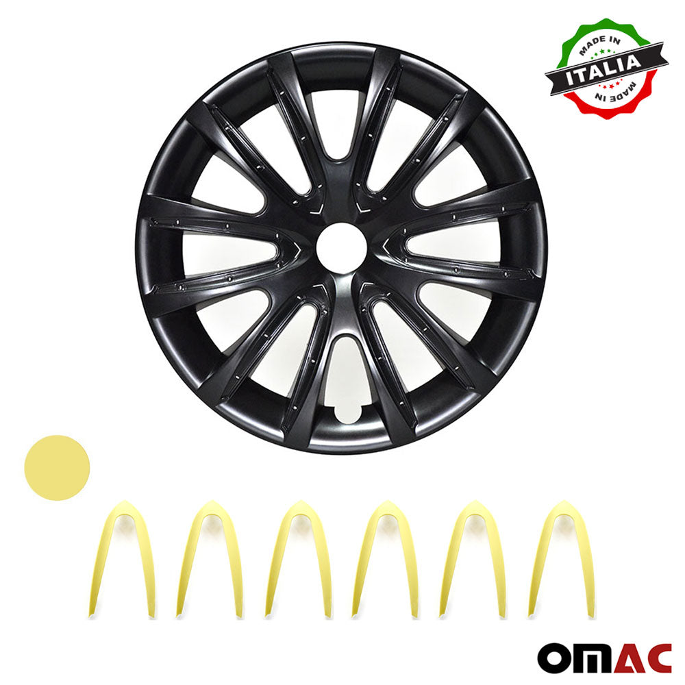 16 Inch Hubcaps Wheel Rim Cover Glossy Black & Yellow for Kia Optima 4pcs Set