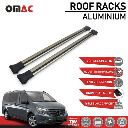 Roof Rack Cross Bars Luggage Carrier Bronze Set for Mercedes Benz Vito 2016-2020