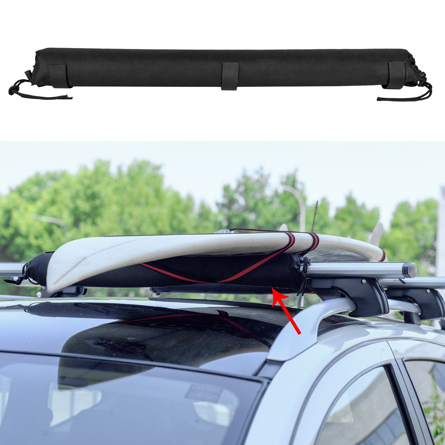 Roof Rack Pads Car Roof Surfboard Windsurf Canoe Crossbar Protection 2 Pcs. Set