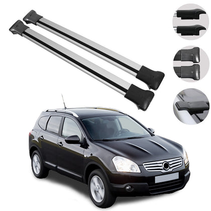 Roof Rack Cross Bars Luggage Carrier Silver for Nissan Qashqai +2 NJ10 2009-2013