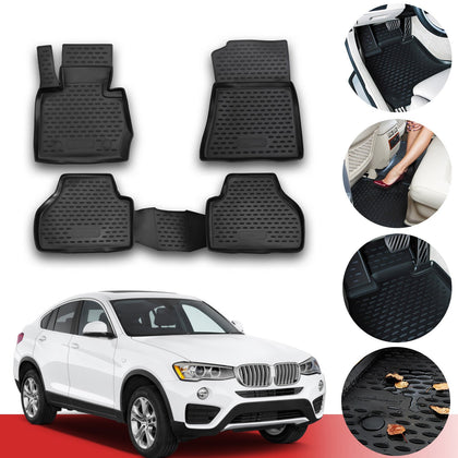Floor Mats Liner 3D Molded Black Set Fits BMW X4 (F26) 2014-2021