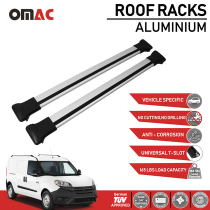 Roof Rack Cross Bars Luggage Carrier Silver fits Fiat Doblo 2010-2020