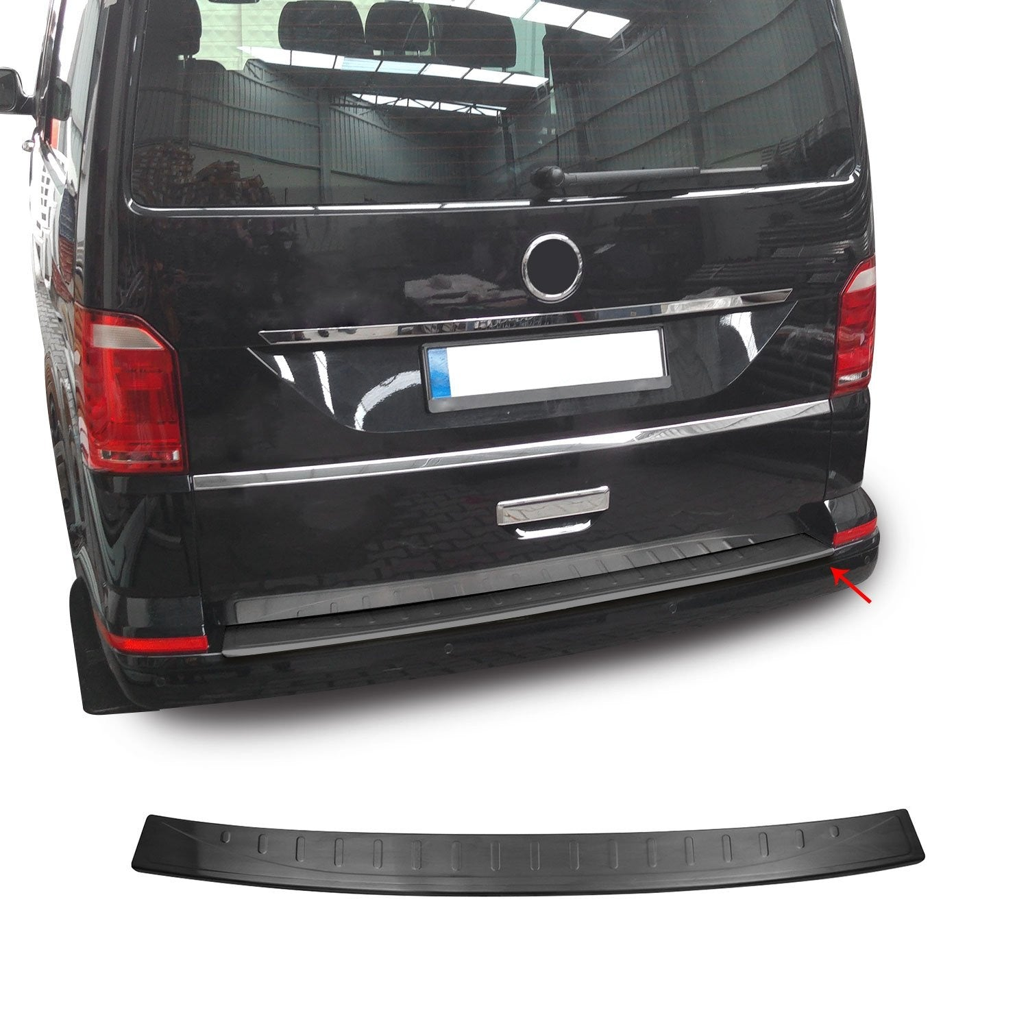 Dark Brushed Chrome Rear Bumper Trunk Sill Cover For VW T6 Transporter 2016-2021