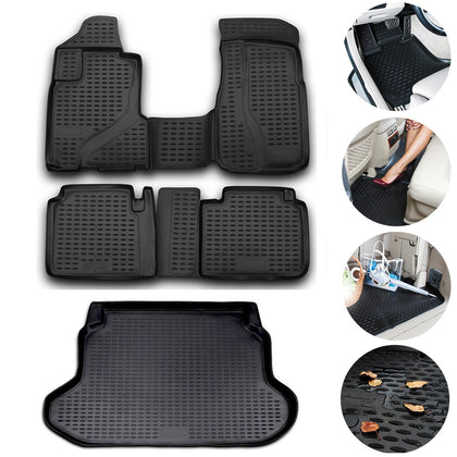 Floor Mats Cargo Trunk Liner 3D Molded Fit Black Set For Honda CR-V 2002-2006