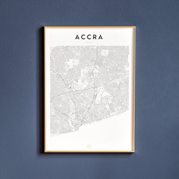 Accra, Ghana map poster