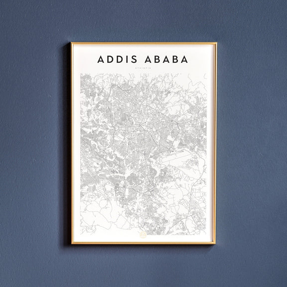 Addis Ababa, Ethiopia map poster