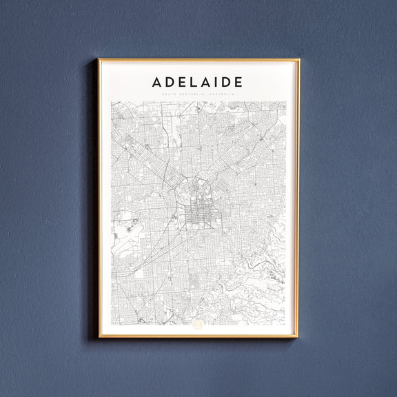 Adelaide, South Australia map poster