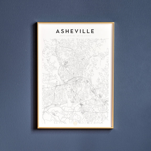 Asheville, North Carolina map poster