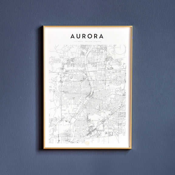 Aurora, Illinois map poster