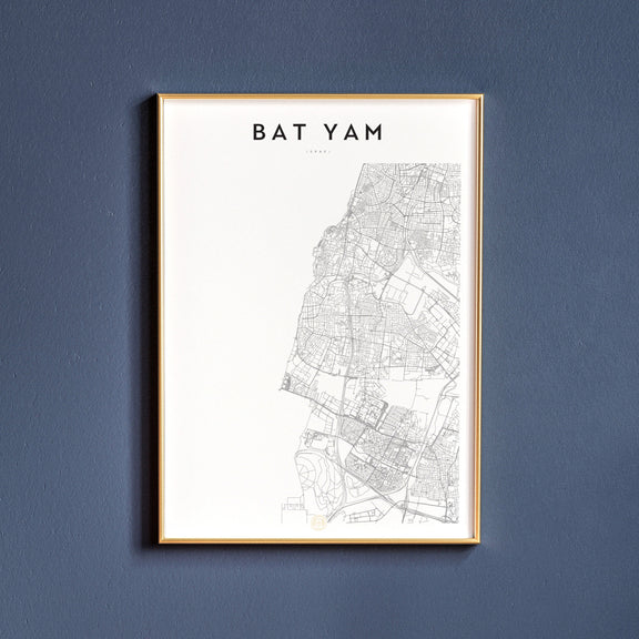 Bat Yam, Israel map poster