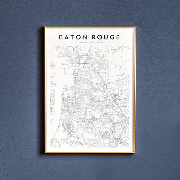 Baton Rouge, Louisiana map poster
