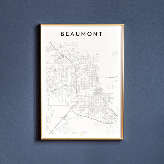 Beaumont, Texas map poster