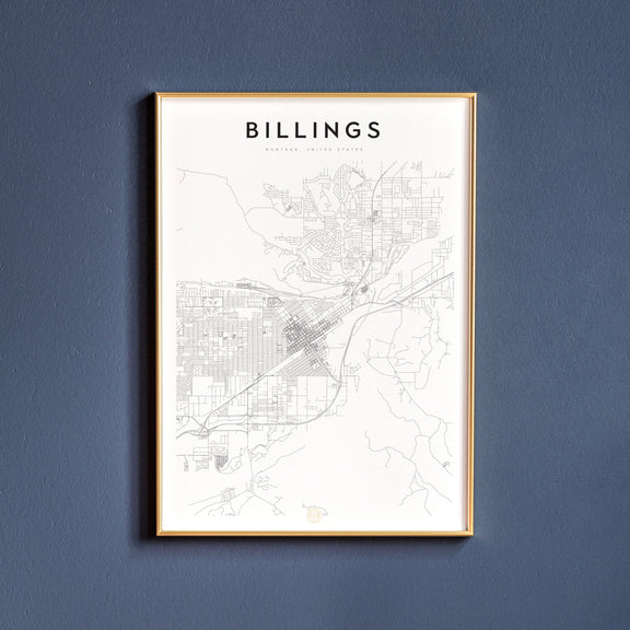 Billings, Montana map poster