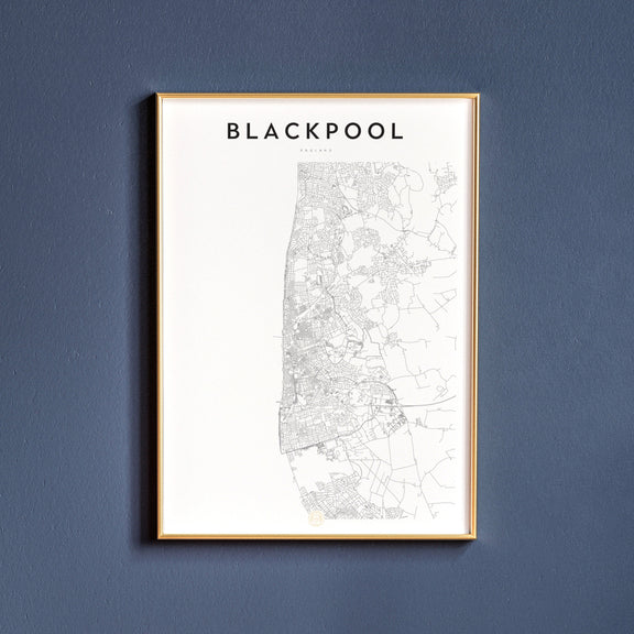 Blackpool, England map poster
