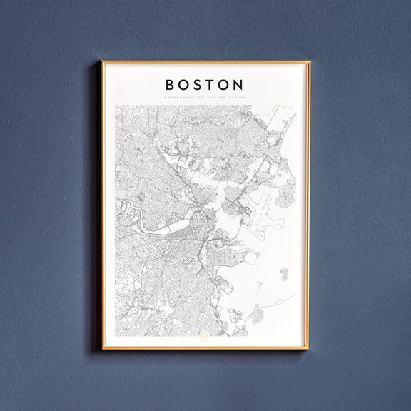 Boston, Massachusetts map poster