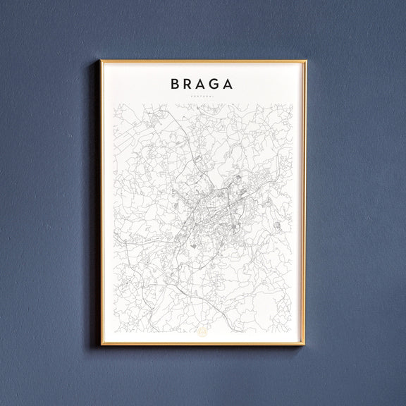 Braga, Portugal map poster