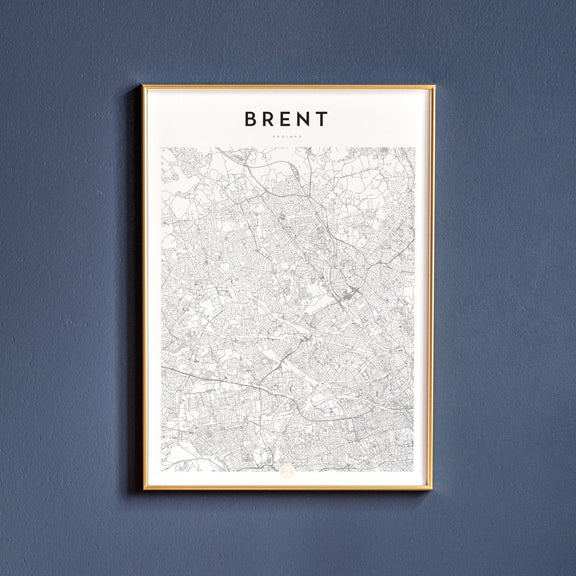 Brent, England map poster